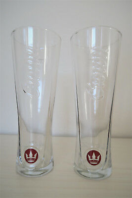 Crown Lager Beautifully Embossed Beer Glasses 300ml Set of 2 – Collectable Item