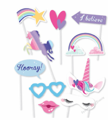 Girl Birthday Party Unicorn Photo Booth Props 10Pk Crown Rainbow Mask Glasses