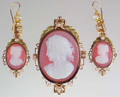 Antique Victorian French 18K Gold Pearl Cameo Necklace Pendant Earrings Set