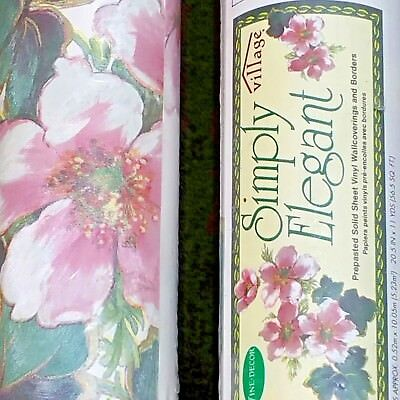 Village Floral Wallpaper Lot of Two Double Rolls 1991