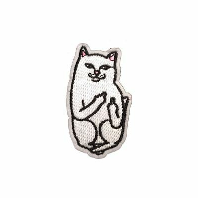 White Cat (Iron on) Embroidery Applique Patch Sew Iron Badge