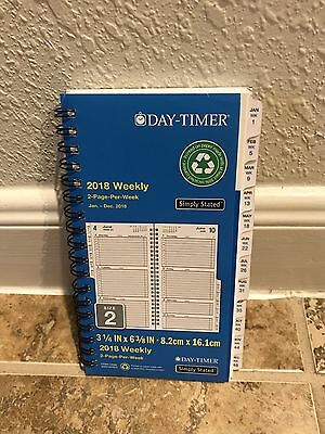 Day-Timer Spiral Refill 2 Pages Week 2018 Weekly Planner Pocket Hourly Size 2