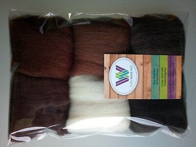 Brown set* Pure Wool Tops for felting 6 colours: natural white brown black, 30g