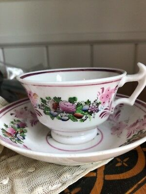 Antique Luster Stunning Floral Soft Paste Circa 1800's Teacup Saucer