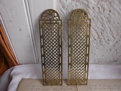 French antique patina gold brass door push plates finger patina  a pair