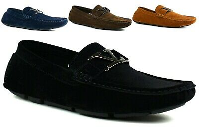 Mens Slip On Shoes Faux Suede Flat Heel Buckle Designed Mens Loafer Uk Size 6-11