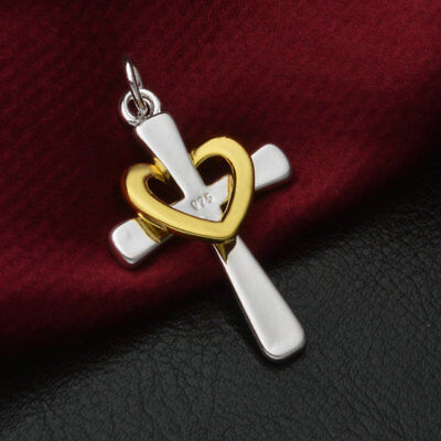 UK Gold Heart Cross 925 Sterling Silver Plt Pendant Necklace Chain Lady Girl