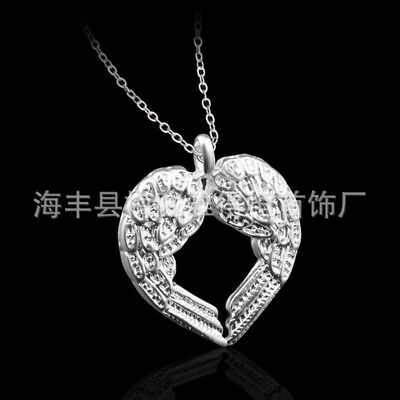 UK Angel Wings 925 Sterling Silver Plt Pendant Necklace Chain Lady Girl