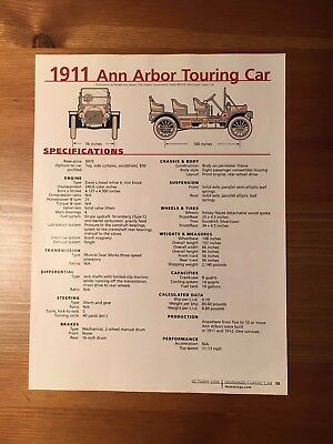 1911 Ann Arbor Touring Car Specification Sheet Magazine Ad