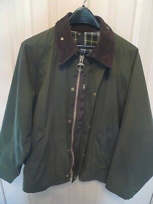Barbour- A210 Transport Waxed Cotton Jacket-Sage-Made In Uk-Rare-Size 44