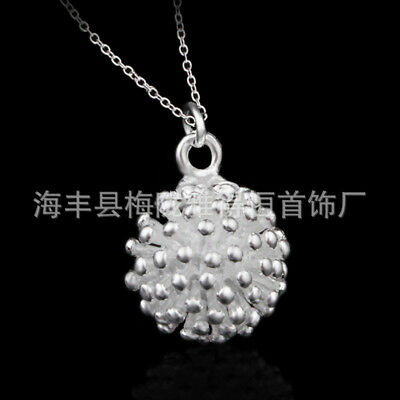 UK Explode Ball 925 Sterling Silver Plt Pendant Necklace Chain Lady Girl
