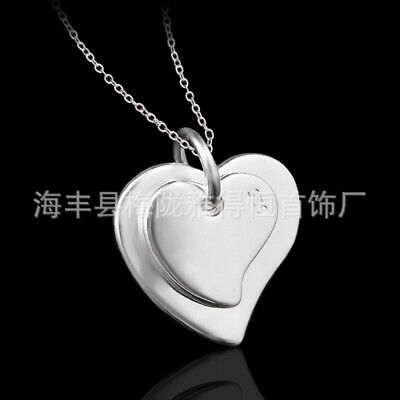 UK twin heart 925 Sterling Silver Plt Pendant Necklace Chain Lady Girl