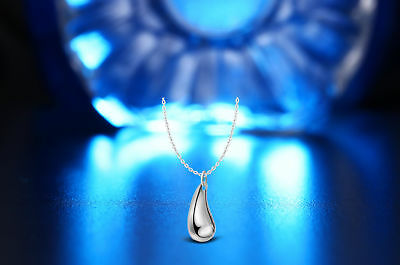 UK Water Drop 925 Sterling Silver Plt Pendant Necklace Chain Lady Girl