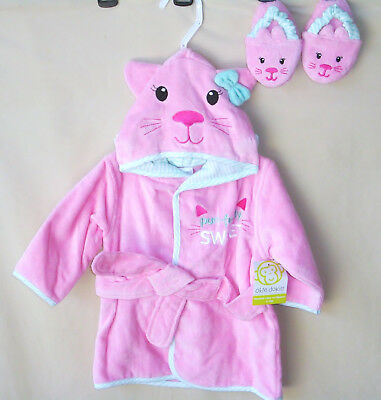 """OKIE DOKIE 100% Cotton Pink CAT Baby Girl Hooded Bath Robe w/Slippers. """"NEW"""""""