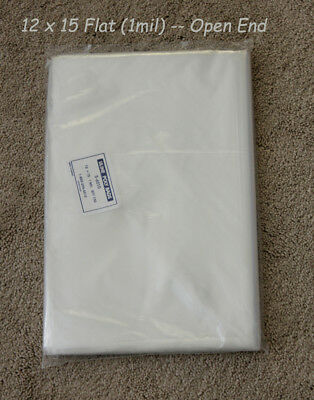 12 x 15 Clear Poly T-Shirt Plastic Bags Flat w/Open End - 1 mil