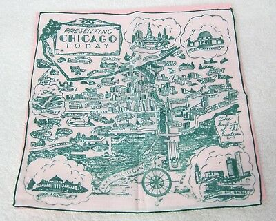 Vintage Hankie Presenting Chicago Today Green on White City Map Small Hole