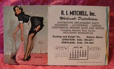 Elvgren Pin-up Maid Blotter advertising 1965 Calendar R.I Mitchell,Inc. Auto Or.