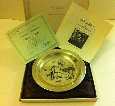 1972 Franklin Mint Sterling Silver The Goldfinch Plate Limited Edition Box COA