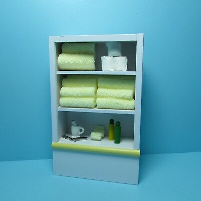 Dollhouse Miniature Yellow Bathroom Cabinet Filled Towels, Toilet Paper & More