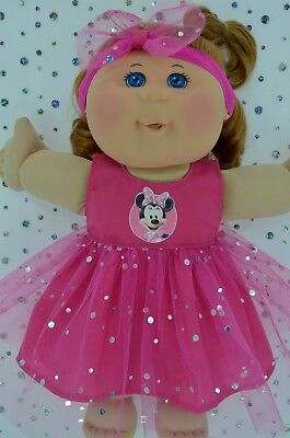 "Play n Wear Doll Clothes To Fit 14"" Cabbage Patch HOT PINK SEQUIN DRESS~HEADBAND"
