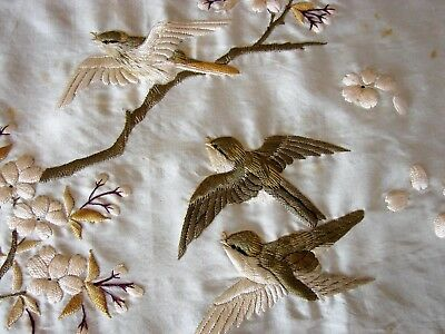 Antique Embroidered Silk Shawl Waves Apple Blossom Birds Aesthetic Meiji Japan