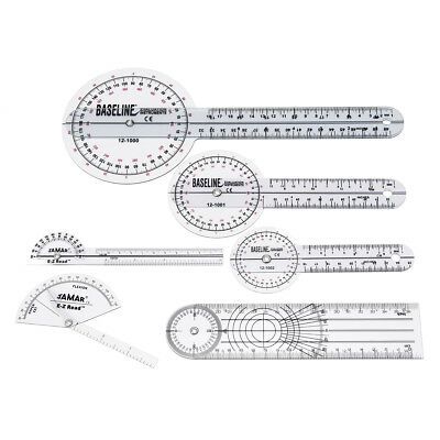 6pcs Medical Spinal Ruler 12/8/6 inch Set Goniometer Angle Protractor 360 Degree
