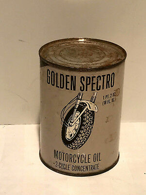 Vintage Collectible Golden Spectro Motorcycle Oil Can Rare Unopened 18Oz.