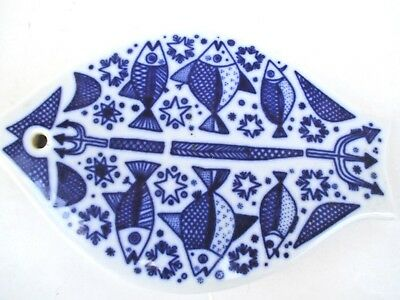 Vintage Porsgrund Norway Norwegian Fish Trident Blue White Ceramic Trivet 6119