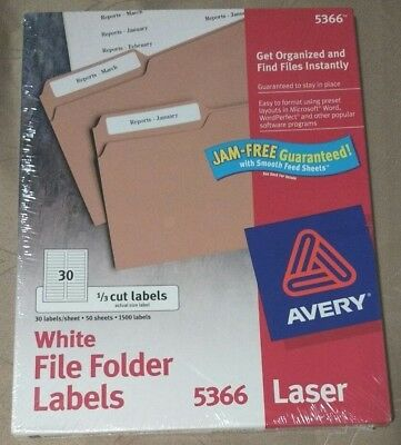 NEW Avery 5366 White File Folder Labels 1/3 Cut 50 sheets 1500 labels