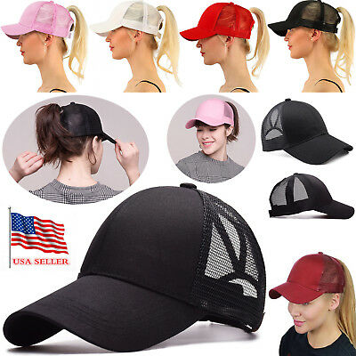 NEW Breathable cool High Bun Ponytail Adjustable Mesh Trucker Baseball Cap Hat