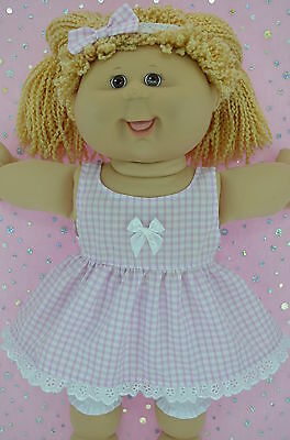 """Play n Wear Doll Clothes For 16"""" Cabbage Patch GINGHAM DRESS~BLOOMERS~HEADBAND"""