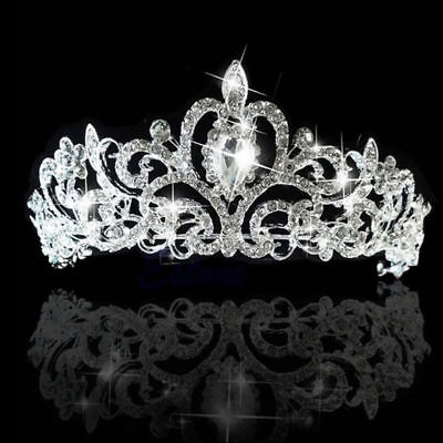 Luxury Bridal Princess Rhinestone Crystal Hair Tiara Wedding Crown Headband TOP