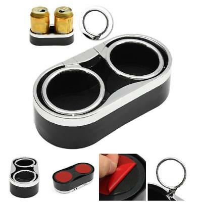 Auto Car Truck Adhesive Mount Dual Cup Holder Drink Bottle Holders + 2 Top Rings
