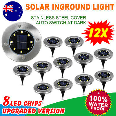 12x Solar Powered 8 LED Buried Inground Recessed Light Garden Outdoor Deck Path
