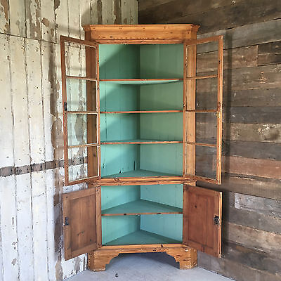 Antique Early 19th Century Glazed Corner Cabinet Pitch Pine Display Cupboard