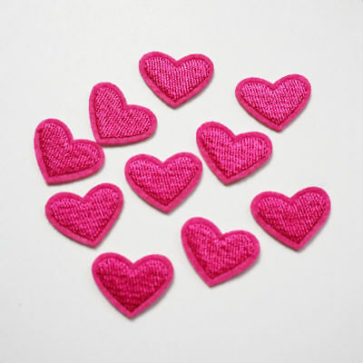 12pcs Embroidery Love Pink Heart Sew Iron On Patch Badge Bag Hat Jeans Applique