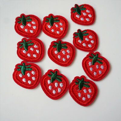 10Pcs Embroidery Strawberry Sew On / Iron On Patch Badge Bags Hat Jeans Applique