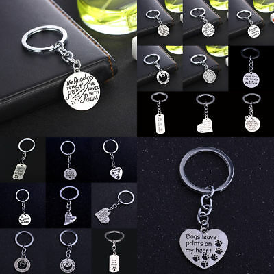 Pet Dog Paw Jewelry Keyring Key Chain Pendant Tag Gift Leave Print On My Heart