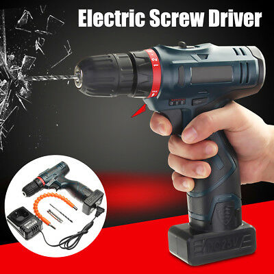 25V Electric Two Speed Cordless Drill Driver Li-Ion Power Hammer Screwdriver Set