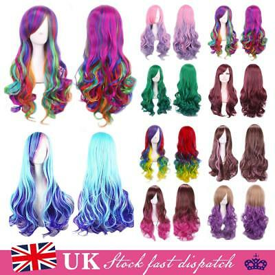 Fashion Women Long Anime Full Hair Wigs Rainbow Curly Wavy Straight Deluxe Wig
