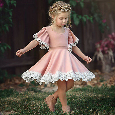 Kids Baby Girls Bridesmaid Prom Wedding Lace Floral Short Sleeve Dress Clothes