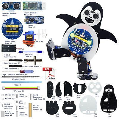 Adeept Penguin Robot Starter Kit for Arduino Nano with PDF Android Bluetooth
