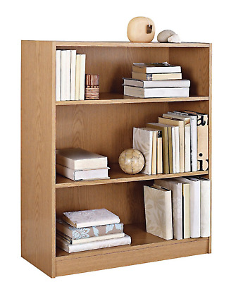 Maine 2 Shelf Small Bookcase, Oak Effect CD DVD Books Shelves Wooden Unit Rack