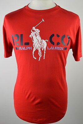 Superb boys Polo Ralph Lauren red printed short sleeved T shirt large 14 16 yrs