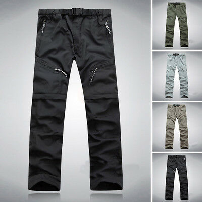 Men Quick Dry Zip Off Convertible Pants Male Outdoor Hiking Cargo Long Trousers