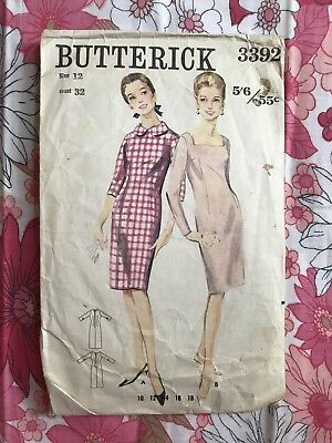 BUTTERICK 3392 sewing pattern COMPLETE vintage Retro Dress 1960s