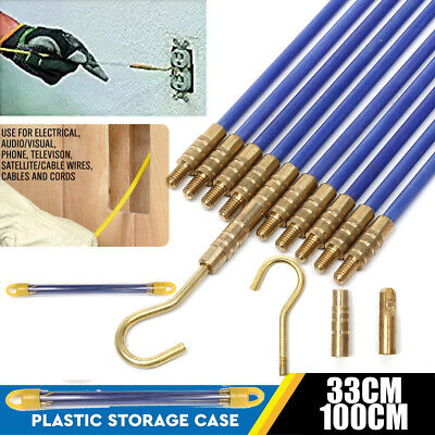 6X1M/330mm Blue Fiberglass Wire Cable Running Rods Fish Pulling Wire Holder Kit