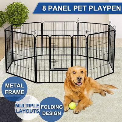 "31"" / 32"" / 40"" 8 Panel Pet Dog Playpen Portable Exercise Cage Fence Enclosure"