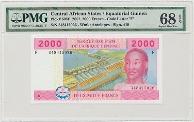 3749. Central African States / Equatorial Guinea • 2000 Francs 2002 • PMG 68 EPQ