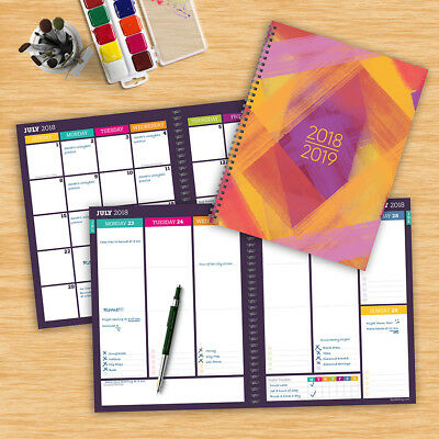 July 2018 - June 2019  Painted Colors Large Weekly Monthly Planner
